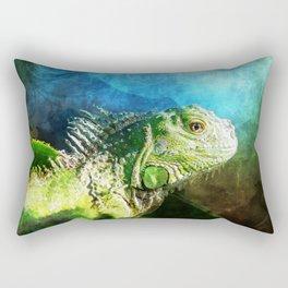 Blue And Green Iguana Profile Rectangular Pillow