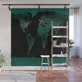 World Map : Green Wall Mural
