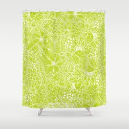 Modern white hand drawn floral lace illustration on lime green punch Shower Curtain