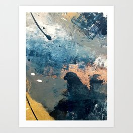 Wander [2]: a vibrant, colorful, abstract in blues, pink, white, and gold Art Print