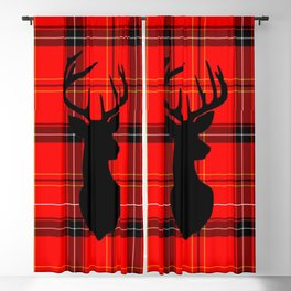 Deer on Plaid Blackout Curtain