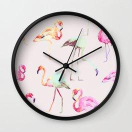 Flamingo Formation #society6 Wall Clock