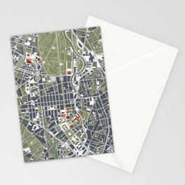Berlin city map engraving Stationery Cards