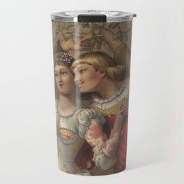 Vintage Christmas Romance Under The Mistletoe (1886) Travel Mug