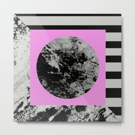 Stripes In Space - Geometric Abstract In Block Pink, Black And White And Black And Grey Stripes Metal Print