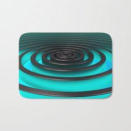 Dark concentric spiral with blue glow Bath Mat