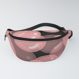 Pink Bubbles with Black Background  Fanny Pack