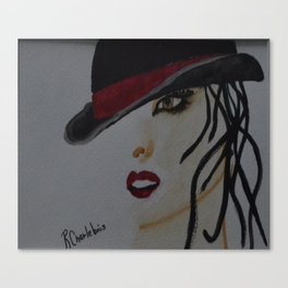 nice lady black and red Canvas Print