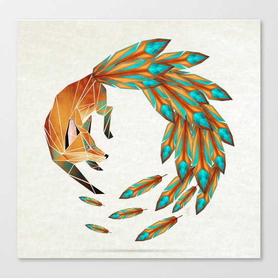 fox circle Canvas Print