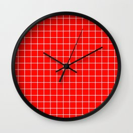 Candy apple red - red color - White Lines Grid Pattern Wall Clock