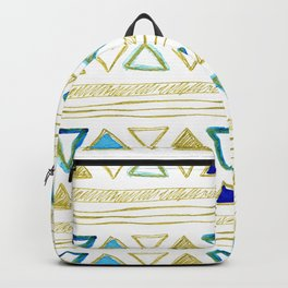 Watercolor & Gold Triangle Pattern Backpack