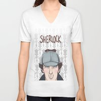 enerjax V-neck T-shirts featuring Sherlock by enerjax