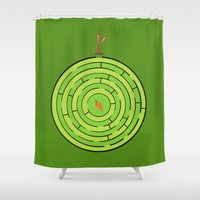labyrinth Shower Curtains featuring Labyrinth by KATUDESIGN