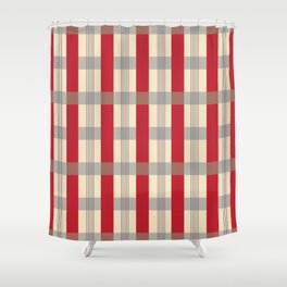 Red Striped Plaid Shower Curtain