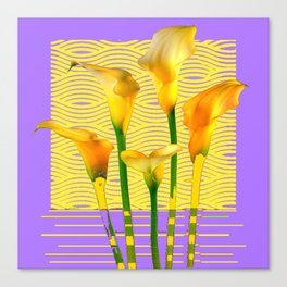 Gold-Lilac Color Calla Lilies Pattern Canvas Print