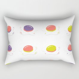 hip fried egg pattern in colorful Living Coral Rectangular Pillow