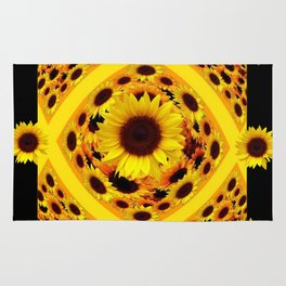 ABSTRACT BLACK GOLDEN YELLOW SUNFLOWER PATTERN Rug