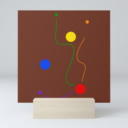 Freedom dots and lines on brown background Mini Art Print