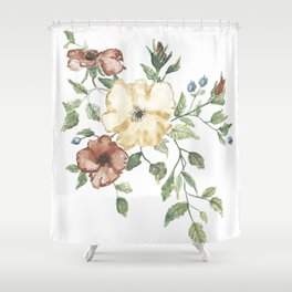 The Eliza // Warm Florals and Berries Watercolor Shower Curtain