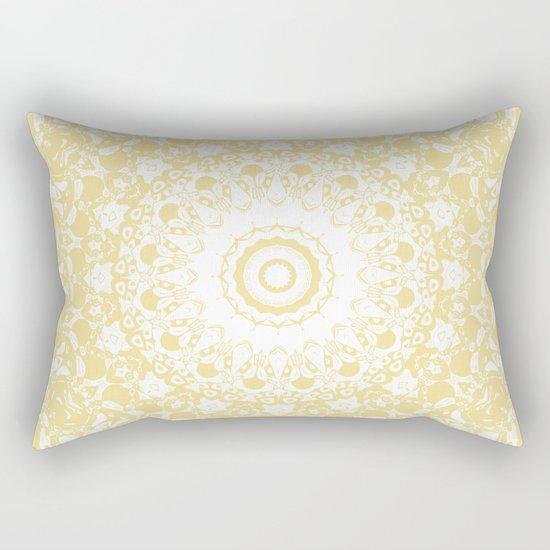 White Lace Mandala on Sunshine Yellow Background by kellydietrich