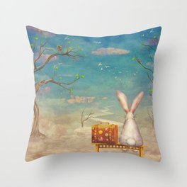 Sad rabbit  with suitcase sitting on the bench on the cloud in sky  Throw Pillow