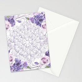 Mandala Rose Garden Lavender Purple Violet Stationery Cards