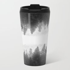 Black and white foggy mirrored forest Metal Travel Mug