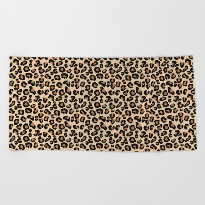 Leopard Print, Black, Brown, Rust and Tan Beach Towel