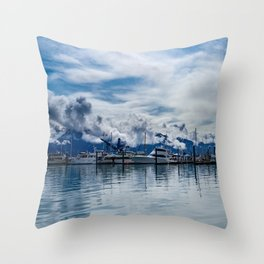 Seward Boat Harbor, Alaska Throw Pillow
