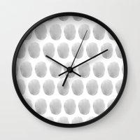 polkadot Wall Clocks featuring Watercolour polkadot grey by studio groenling