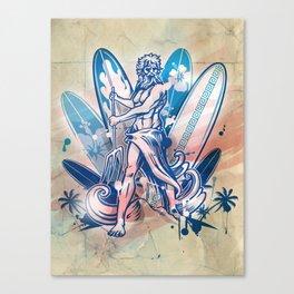 poseidon surfer on surfboard Canvas Print