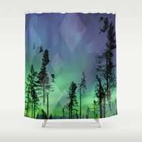 northern lights Shower Curtains featuring Northern Lights by Ricca Design Co.