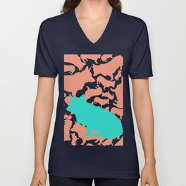 Corgi Collage with Coral and Teal Unisex V-Neck