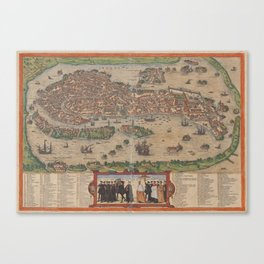 Vintage Map of Venice Italy (1572) Canvas Print
