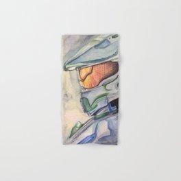 Halo gaming watercolor design Hand & Bath Towel