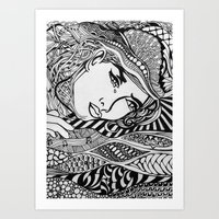 lichtenstein Art Prints featuring Zentangle Lichtenstein by butterflyandbear