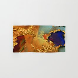 Abstract Gold and Blue Hues Glitter Paint Texture Hand & Bath Towel
