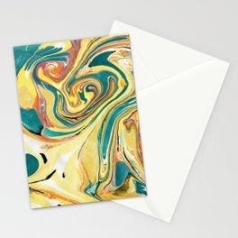 Yellow & Turquoise Marbling Stationery Cards