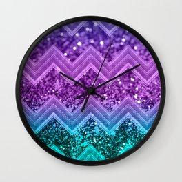 Unicorn Glitter Chevron #3 #shiny #decor #art #society6 Wall Clock
