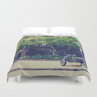 vespa Duvet Covers featuring Vespa by thirteesiks