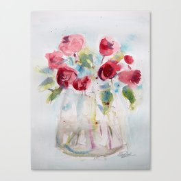 Roses (watercolor and ink) Canvas Print