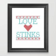 Love Stinks Cross Stitch Framed Art Print