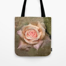 Vintage rose with water drops Tote Bag