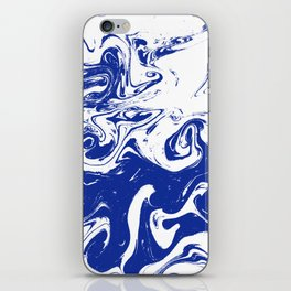Marble blue 4 Suminagashi watercolor pattern art pisces water wave ocean minimal design iPhone Skin