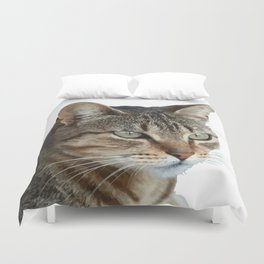 Stunning Tabby Cat Close Up Portrait Isolated Duvet Cover
