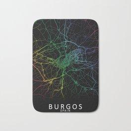 Burgos, Spain, City, Map, Rainbow, Map, Art, Print Bath Mat