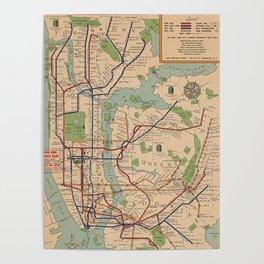 New York City Metro Subway System Map 1954 Poster