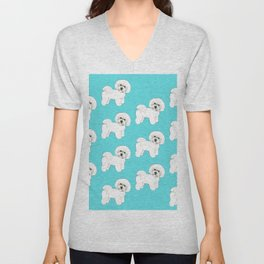 Bichon Frise on aqua / teal / cute dogs/ dog lovers gift Unisex V-Neck