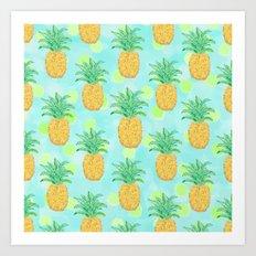 Pineapples and Polka Dots (pattern) Art Print