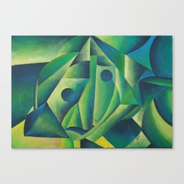 Cubist Abstract Of Village Woman Wearing A Headscarf Canvas Print